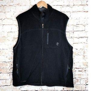 Timberland Fleece Black Zip Up Logo Vest